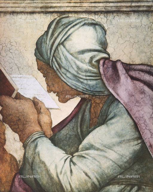 Persian Sibyl, detail of the face. Fresco by Michelangelo. Sistine Ceiling, Vatican City