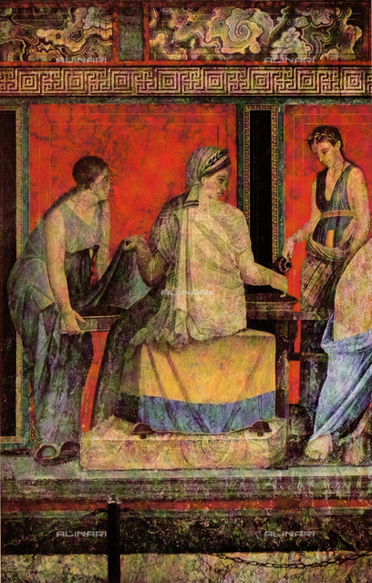 Libation or lustration; detail of the Second Style frescoes painted on a red background, Villa of Mysteries, Pompeii