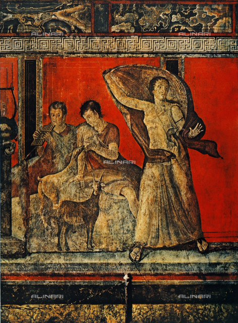 Satyr playing panpipes, Panisca nursing a kid and a terrified fleeing woman; detail of the frescoes on red field of the II style. The Villa of the Mysteries, Pompeii