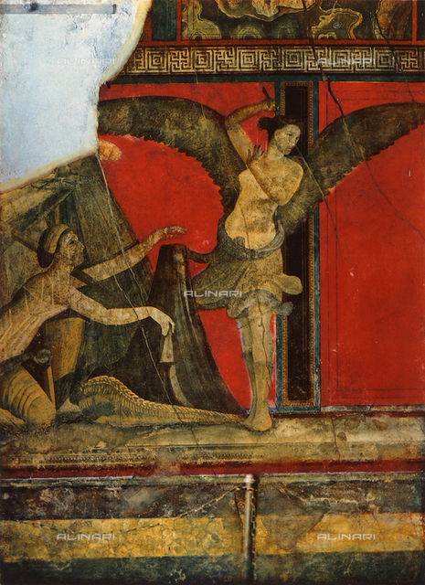 Unveiling a winnowing basket, or liknon; detail of the Second Style frescoes painted on a red background, Villa of Mysteries, Pompeii