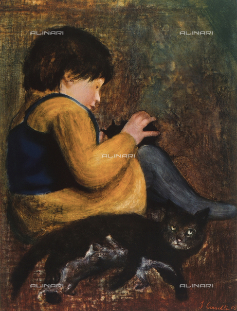 Gloria and the cat; painting by Silvano Caselli, Sandro Rubboli Collection, Milan