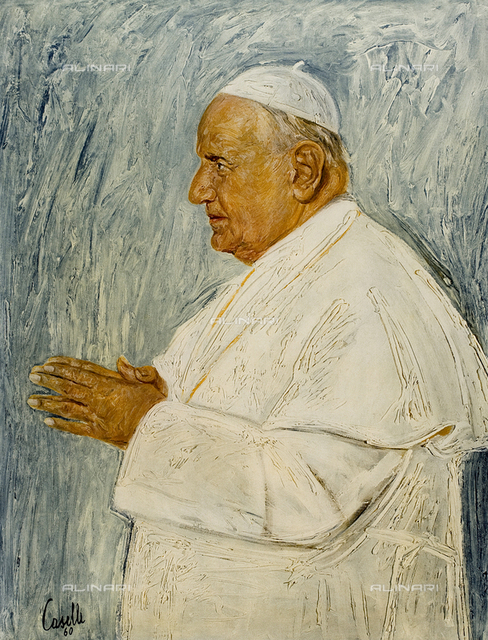 Pope John XXIII, painting, Silvano Caselli, Archdiocese Gallery, Milan