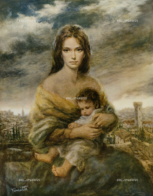 Young mother Tuscan painting, Josep Wallace King known as Vinciata (1911-1996)