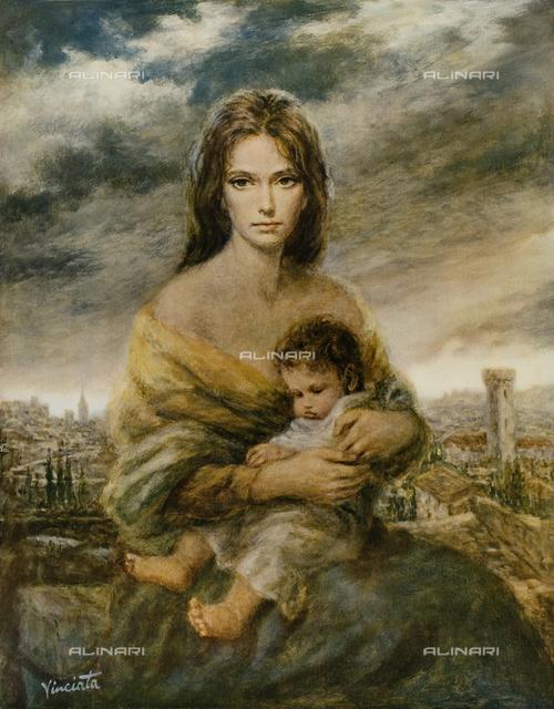 Giovane madre toscana, dipinto, Josep Wallace King conosciuto come Vinciata (1911-1996)