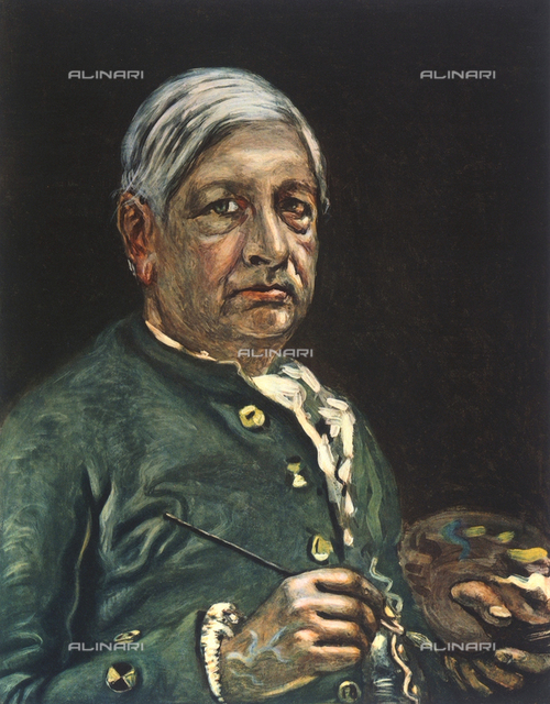 Self-portrait, with palette, of the artist Giorgio De Chirico; Lombari Collection, Florence