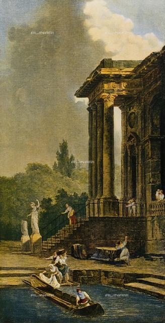 Ruins of a portico, Louvre Museum, Paris.