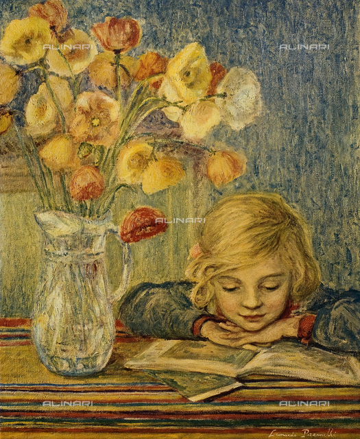 Little girl and flowers, painting, Leonardo Pizzanelli, Private collection