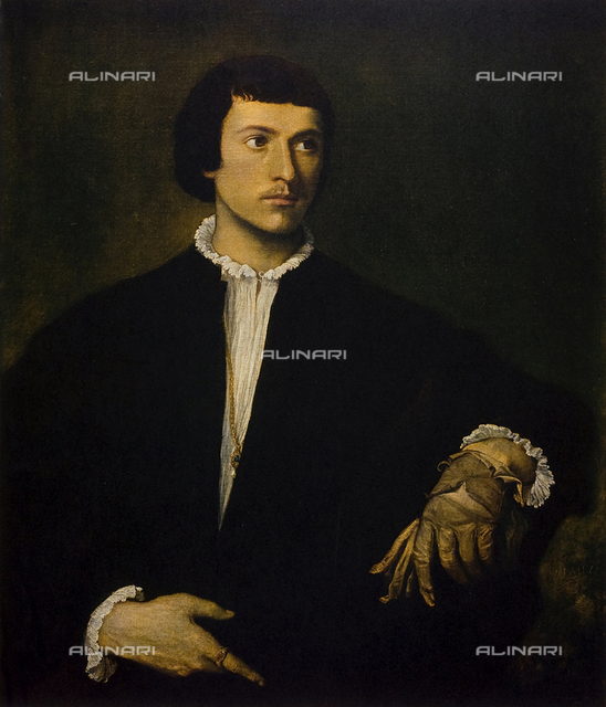 """The Man with glove"", oil on canvas, Titian (said) Vecellio Titian (1485/88-1576), The Louvre Museum, Paris"