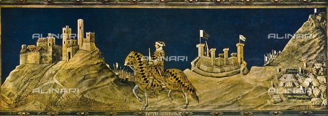 Guidoriccio da Fogliano at the siege of Monte Massi; Sala del Mappamondo. Palazzo Pubblico, Siena