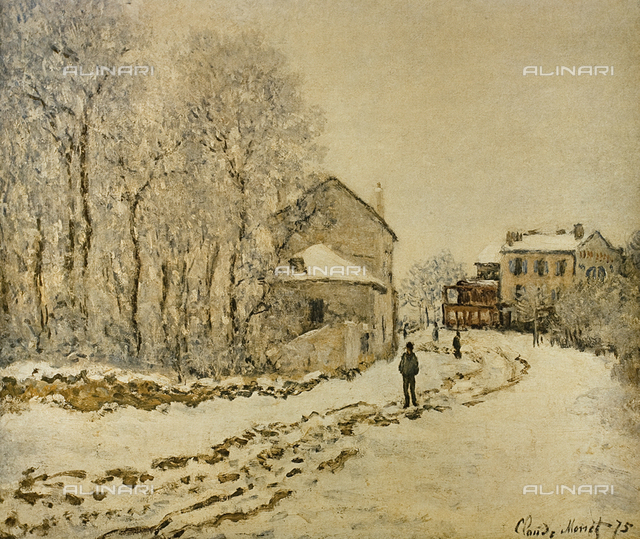 Snow at Argenteuil, painting, Claude Monet