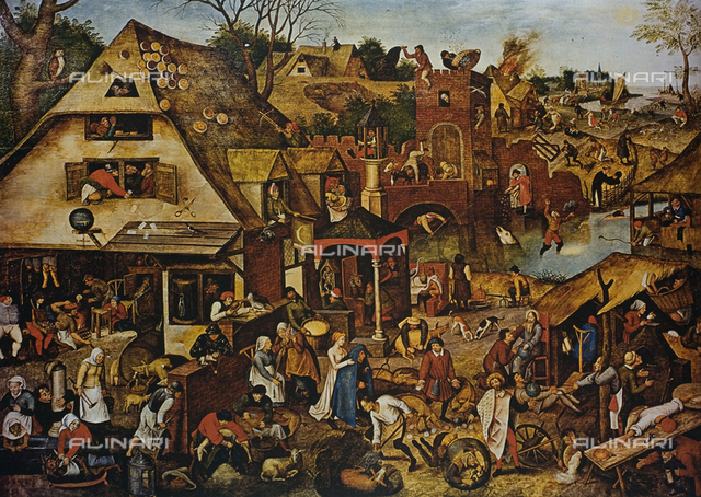The Flemish proverbs, oil on panel, Pieter Bruegel the Elder (1525-1569), Gemà¤ldegalerie, Berlin