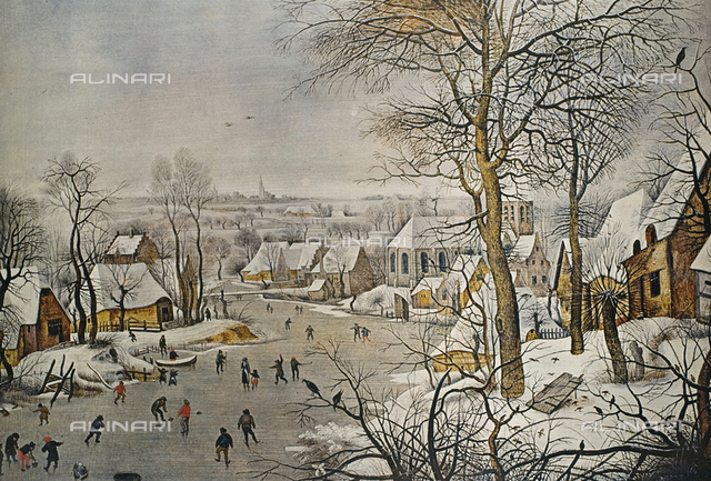 "Winter Landscape with a Bird-trap, 1565, Copy from an original of Brueghel ""the Elder"", oil on wood, Breugel Pieter The Younger, called ""Hell Bruegel"" (1564-1638), Prado Museum, Madrid"