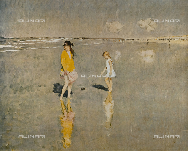 Girls on the beach, oil on canvas, Frans Smeers (1873-1960), Collection FINK, Brussels