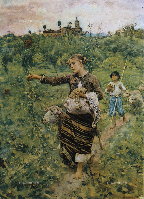 Young shepherdess holding grapes, National Gallery of Modern Art, Rome