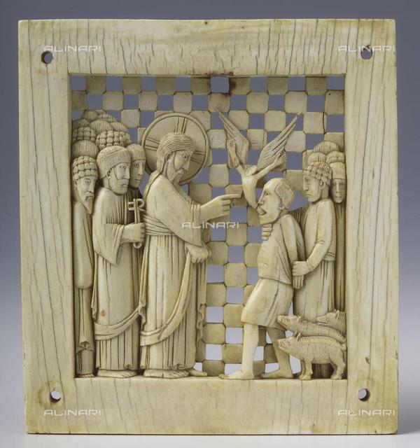 "Jesus healing the possessed Gerasene (from the ""Magdeburg Antependium""), 962-973, Ivory, Master of the Magdeburg Antependium (10th century), Hessisches Landesmuseum Darmstadt"