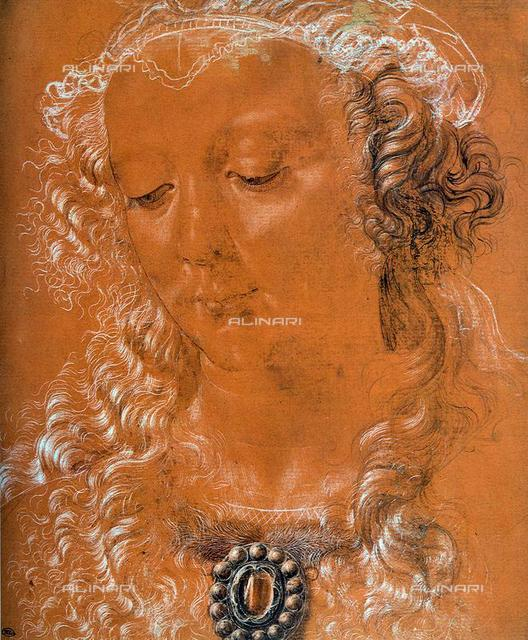Head of a Woman, Silverpoint on paper, 26,7x22,5, Verrocchio, Andrea del (1437-1488), Louvre, Paris