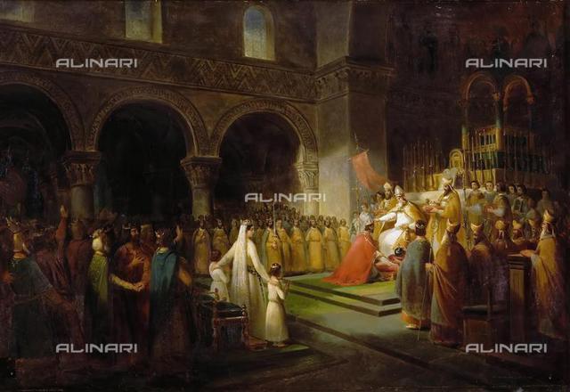 The Anointing of Pepin the Short at Saint-Denis, 28 July 754, 1837, oil on canvas, 62x91,4, Dubois, François (1790-1871), Musée de l'Histoire de France, Château de Versailles