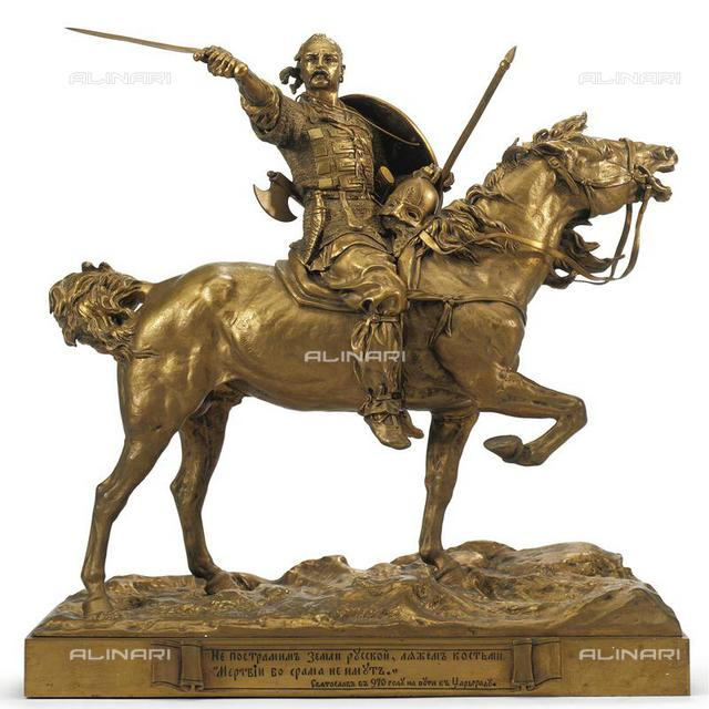 Sviatoslav I on the road to Constantinople in 970, Bronze,L 53,3, Lanceray, Evgeny Alexandrovich (1848-1886), Private Collection