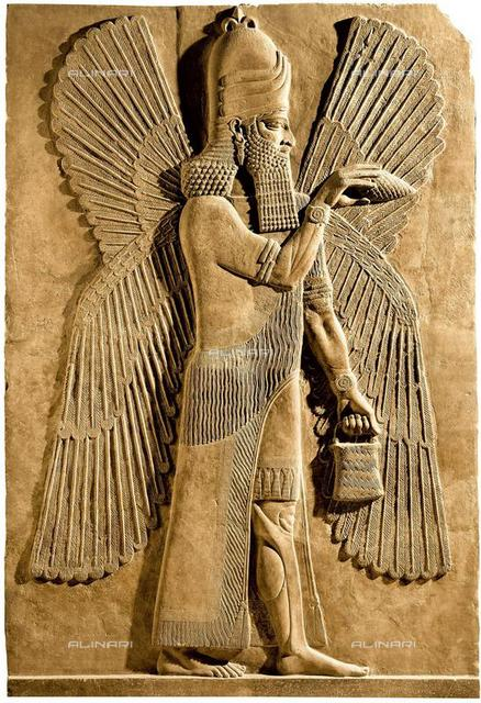 Winged genie. Detail of a relief from the palace of Assyrian king Sargon II, 722-705 BC, Limestone,330x214, Assyrian Art, Musée du Louvre, Paris
