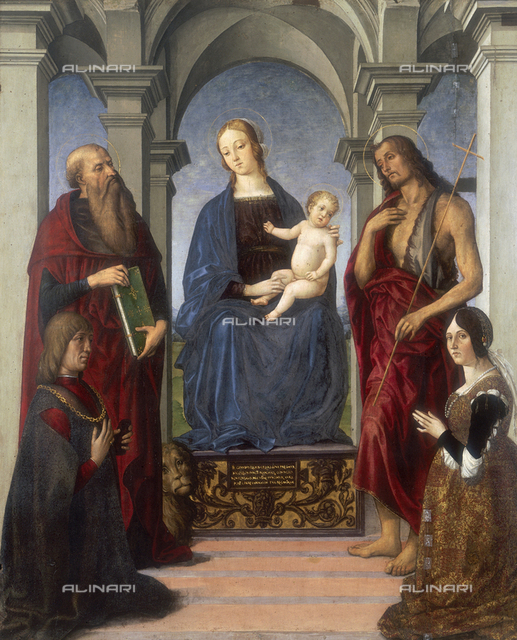 Madonna with Child between St. John the Baptist and St. Jerome, work by Marco Meloni, conserved at the Galleria Estense in Modena