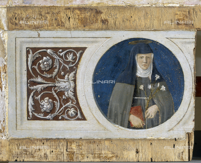 S. Clara, detail of the Altarpiece of St. Anthony, tempera on panel, Piero della Francesca (1416-1492), National Gallery of Umbria, Perugia