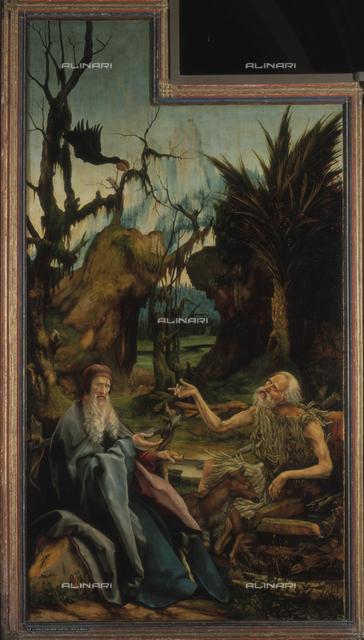 Sant' Antonio a san Paolo, pannello del Retablo di Isenheim, Mathis Nithart Gothart detto Matthias Grunewald (1480 ca.-1528), olio su tavola, 1512-16, Colmar, Musée d'Unterlinden