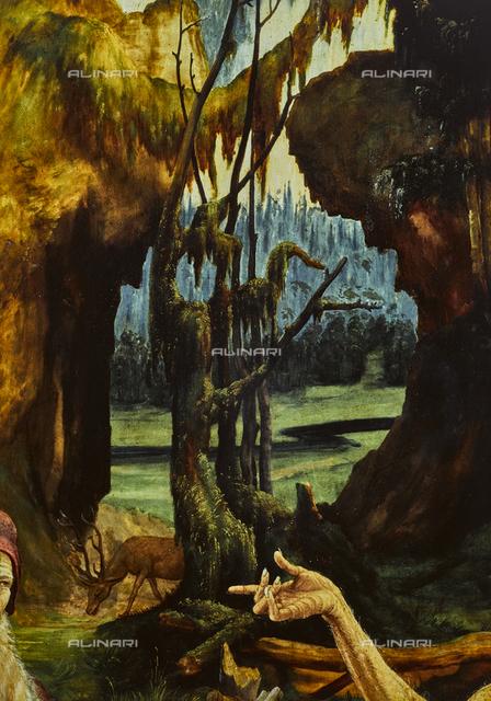 Paesaggio della visita di di sant' Antonio a san Paolo eremita, particolare del Retablo Isenheim, olio su tavola, Matthias Grunewald (ca. 1480-1528), Musée d'Unterlinden, Colmar