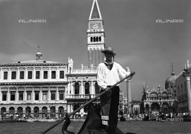Gondolier on the Bacino San Marco, Venice