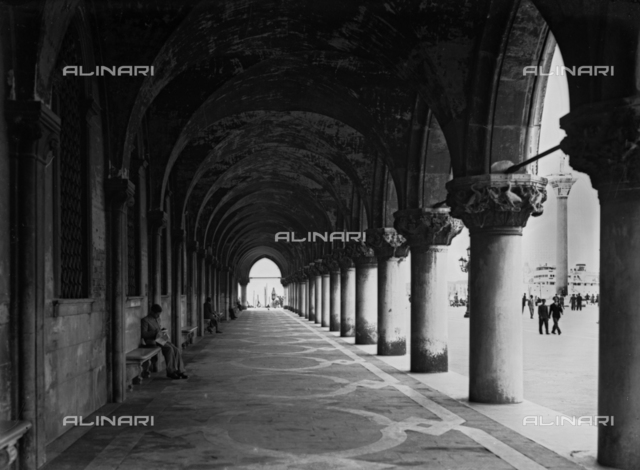 View under the porticoes of the Palazzo Ducale, Piazza San Marco, Venice