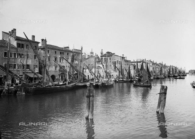 Bragozzi (fishing boats of the Upper Adriatic) moored in a canal in Chioggia