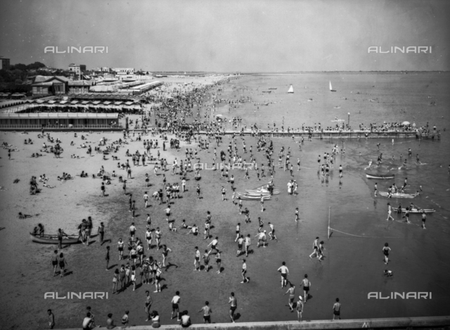 View of a beach on the Lido of Venice