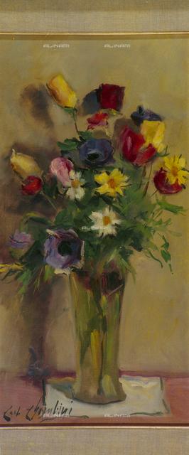 Vase of flowers, tempera on panel, Carlo Cherubini