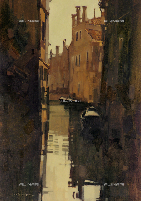 Venice Canal, tempera on panel, A. Castiglioni