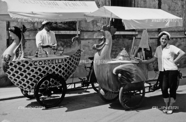 Portrait of ice cream sellers with fun kiosks on the streets of Ravenna