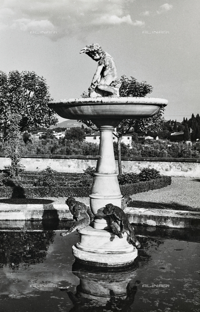 The fountain of monkeys in the Garden of the Knight inside the Boboli Garden in Florence