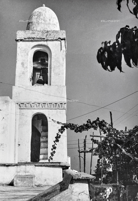The bell tower of the church of San Costanzo on the island of Capri