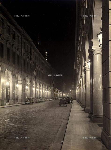 Via Roma in Turin at night