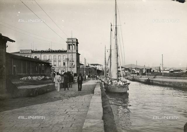 View of the promenade facing the sea and the Grand Hotel Regina in Viareggio