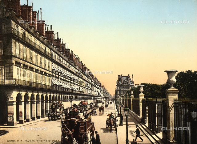 """Lively image of Rue de Rivoli in Paris; it is one of the most important and longest roads of the """"rive droite""""."""
