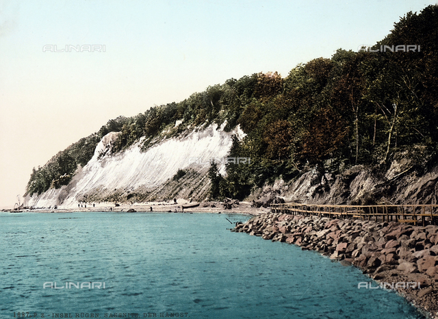 The white cliffs sheer above the sea of Sassnitz, sea resort on the Isle of Rügen, in the Baltic Sea, Germany.