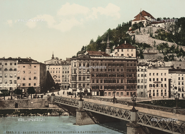 View of Salzburg with the Stadtbrücke and the Kapuzinerberg, Austria.