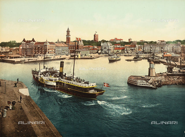 View of Helsingborg with its harbour and a cruise ship.