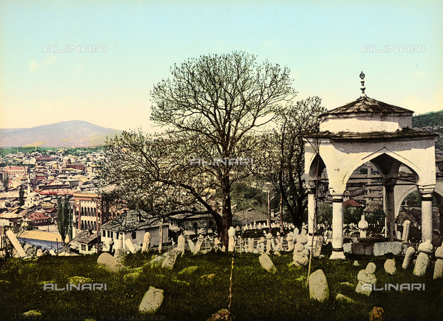 The cemetery in the suburb of Alifakovac in Sarajevo. In the background, the panaroma of the city.