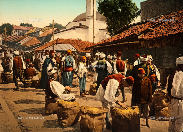 A scene of the weekly market of Sarajevo: corn sellers.