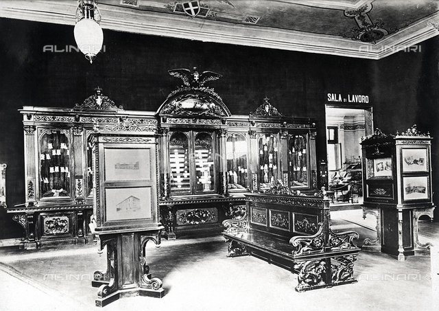 The Pavilion of the Tobacco Manufacturers at an Exposition: photo exhibit and unprocessed tobaccos