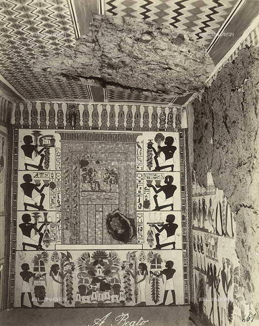 Walls decorated with a false-door motif, Tomb of Nakht, West Thebes