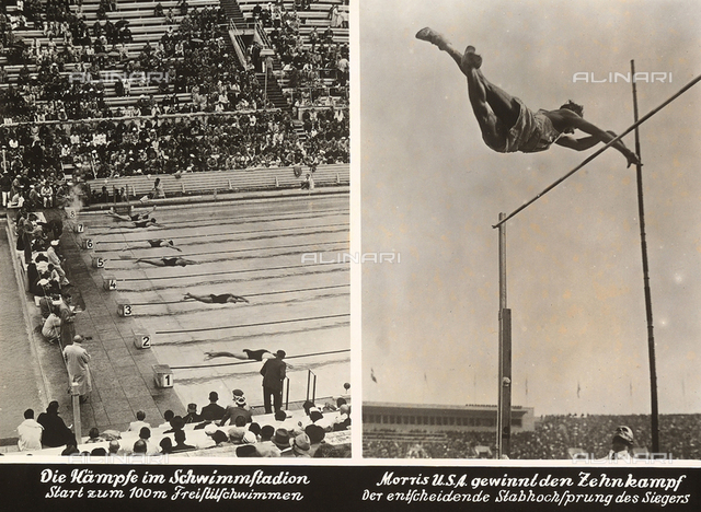 1936 Berlin Olympic Games: a swimming race and an athlete clearing the high jump