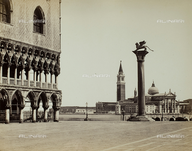 View of the Piazzetta San Marco in Venice, with the glimpse of the Palazzo Ducale and the Church of San Giorgio Maggiore in the background