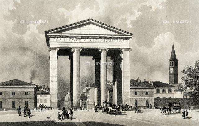 The Porta Ticinese, Milan, aquatint from a daguerreotype, Alinari Museum, Florence