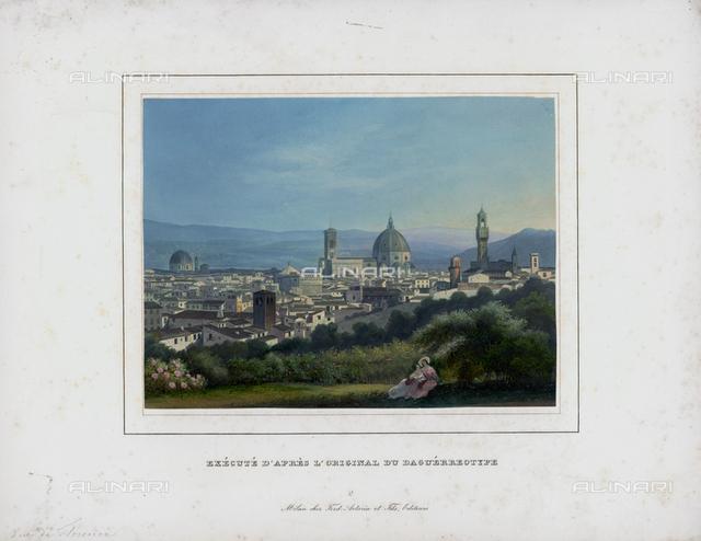 Panoramic view of Florence, aquatint from a daguerreotype, Alinari Museum, Florence